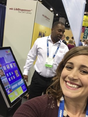 Prize-winner Amber Colley takes a selfie during a demo in the mk Solutions Inc. booth.
