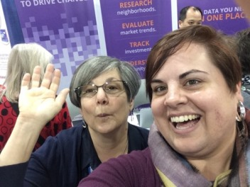 Prize-winner Elizabeth Albin takes a selfie with Trudie Thomas of PolicyMap.